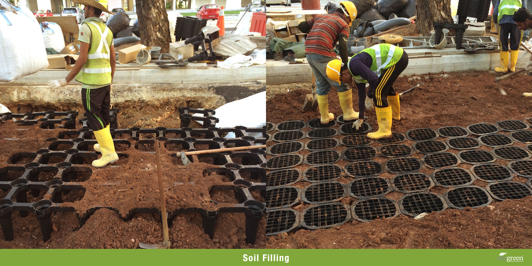 Retrofitting soil cell systems to retain established trees for Soil as a system